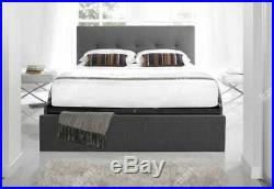 Kaydian Hexham 4FT6 Double Smokey Grey Fabric Storage Bed + 2 Free Foam Pillows