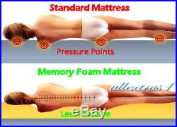 King 5ft Bed Size Memory Foam Mattress + Pillows + Cover Sciatica Back Hip Pain