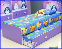 Lilac Penguin Theme Bed Frame Trundle And Bedroom Furniture 2 FREE PILLOWS
