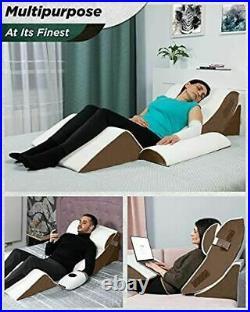 Lunix LX5 4pcs Orthopedic Bed Wedge Pillow Set, Post Surgery Memory Foam for Bac