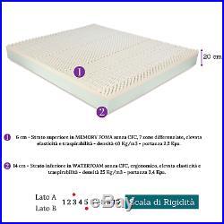 MATERASSO PER RETE MATRIMONIALE MEMORY FOAM 160x190 H 22 ORTOPEDICO ANALLERGICO