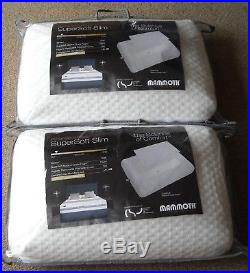 Mammoth Pillows X 2 Supersoft Slim Memory Foam Washable Cover Brand New