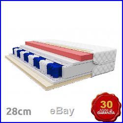 Materasso MEMORY FOAM+VISCO e Molle Insacchettate Diamante Altezza 28cm H3/H4