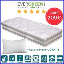 Materasso Memory Singolo 80x200 Alto 25 CM A 7 Zone Con Cuscini Memory Foam