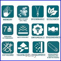 Materasso Memory Singolo 80x200 Topper Zone Differenziate con Lastra Poliuretano