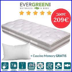 Materasso Singolo 80x200 con Topper Memory Foam Sfoderabile alto 25 Evergreenweb