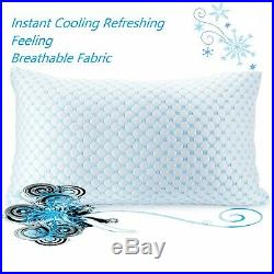 Memory Foam Cooling Pillow Reducing Heat and Moisture Ice Silk and Gel Infused