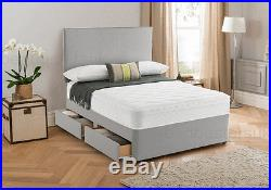 Memory Foam Divan Bed with Pillow Top Mattress and headboard 3FT 4FT6 Double 5FT