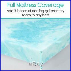 Memory Foam Mattress Topper Queen 3 Thick Gel Pad Firm Bed Soft Sleeping Pillow