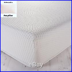 Memory Foam Mattress With Washable Zip Cover 20cm Depth Various Sizes + Pillow