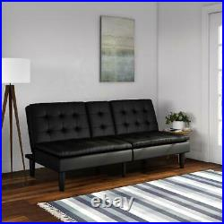 NEW Pillow Top Memory Foam Sofa Bed Couch Convertible Futon Leather Cup Holders