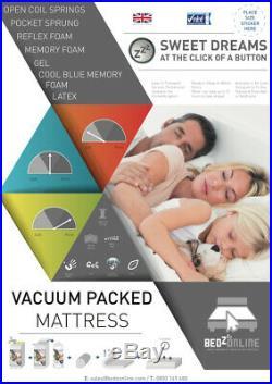 New 4ft6 Double Size Memory Foam Foam Mattress + 2 Free Pillows Handmade In Uk