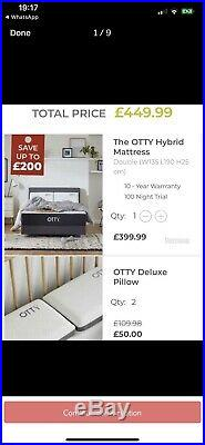 OTTY Hybrid Memory Foam Mattress and pillows- Double HALF PRICE