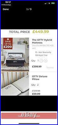 OTTY Hybrid Memory Foam Mattress and pillows- Double HALF PRICE