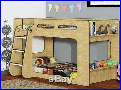 Oak Effect Short Height Bunk Bed Extra Low Bunk Storage Shelf 2 FREE PILLOWS
