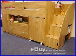Oak Or White Supreme Midsleeper Beds Cabin Bed Desk & Storage 2 Free Pillows