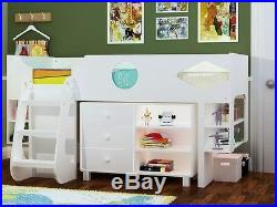Ollie White Storage Cabin Bed White Midsleeper Bed 2 FREE PILLOW OFFER