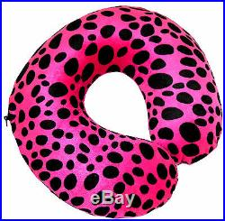 Pink & Black Leopard Print Soft Memory Foam Travel & Support Neck Cushion Pillow
