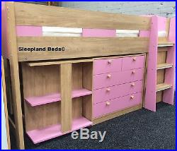 Pink & Oak Mayfair Midsleeper Bed with Desk, Storage & Bookcase 2 FREE PILLOWS