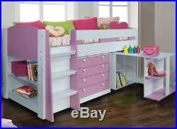 Pink & White Diva Midsleeper with Desk, Storage & Bookcase 2 FREE PILLOW OFFER