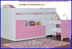 Pink & White Single Supreme Midsleeper Storage Bed With Desk 2 FREE PILLOWS