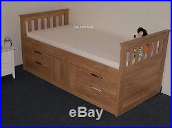 Rio Wooden Captains Bed with storage In Oak Or White 2 FREE PILLOWS OFFER