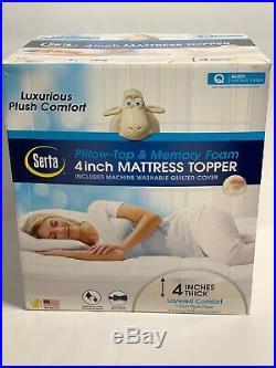 SERTA 4 Pillow Top and Memory Foam Mattress Topper QUEEN New FREE SHIPPING