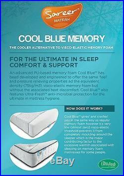 Sareer Cool Blue Memory Foam Open Coil Sprung Mattress Various Size FREE PILLOWS