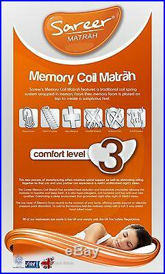 Sareer Memory Foam Open Coil Sprung Mattress Various Sizes and FREE PILLOWS