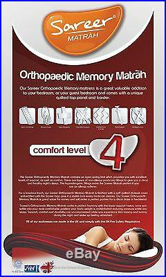 Sareer Orthopaedic Memory Foam Mattress Open Coil Various Sizes and FREE PILLOWS