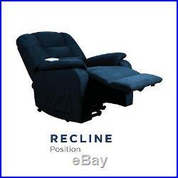 Serta Riley Wall Hugger Power Lift Chair Recliner, Pillow Top, Memory Foam, Navy