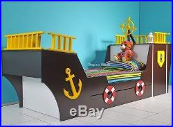 Single Brown Pirate Ship Bed with Storage By Sleepland 2 FREE PILLOWS OFFER