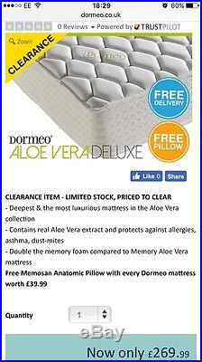 Single bed with Dormeo memory foam mattress 90x190cm, + 2 Duck Feather Pillows