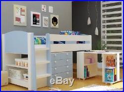 Skye Blue & White Mayfair Midsleeper With Desk, Storage, Bookcase 2 FREE PILLOWS