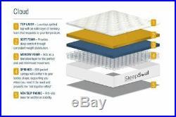 Sleep Soul Cloud Small Double 120cm 4FT Mattress Pillow Top Memory Foam Pocket