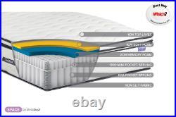 Sleep Soul Space Double 135cm 4FT6 Mattress Pillow Top Memory Foam 2000 Pocket
