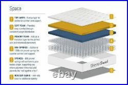 Sleep Soul Space Small Double 120cm 4FT Mattress Pillow Top Memory Foam Pocket