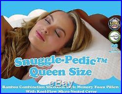 Snuggle-Pedic Ultra-Luxury Kool-Flow Bamboo Shredded Memory Foam Pillow Queen