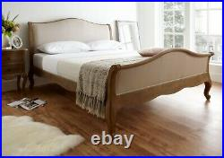 Solid Wood Oak Bed Frame French Style Wooden Bed Memory Foam Mattress & Pillows