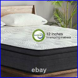 Sweetnight King Mattress in a Box 12 Inch Plush Pillow Top Hybrid Mattress