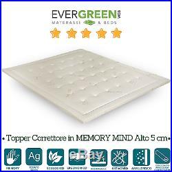 Topper Correttore Materasso Visco Memory Foam Tessuto Silver Antiacaro H5 Bianco
