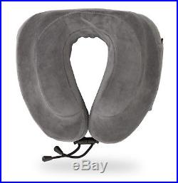 Travel Pillow Memory Foam Head Neck Support Comfort Airplane Car Train Gray New