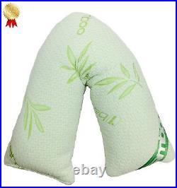 V-Shape Bamboo Memory Foam Pillow Or Pillowcase Neck-Pregnancy-Nursing Support