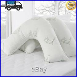 V Shape Pillow Memory Foam Bamboo Orthopaedic & Pregnancy Extra Filled Pillow