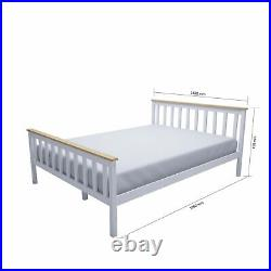 White 4FT6 Double Bed Frame Solid Pine Bed Stylish Bedroom + Memory Foam Pillows
