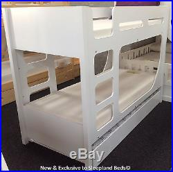 White Lolly Bunk Beds with Guest Bed Trundle 3ft Single 2 FREE PILLOWS