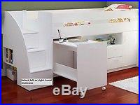 White Mid Sleeper Bed With Stairs, Storage And Desk 2 FREE PILLOWS