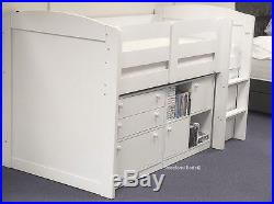 White Neptune Midsleeper With Cupboards, Bookcase, Drawers 2 FREE PILLOW OFFER