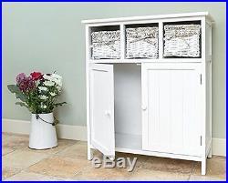Wooden Cupboard Storage Unit 3 Drawer Wicker Baskets Bathroom Hallway Organizer