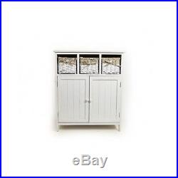 Wooden Cupboard Storage Unit 3 Drawer Wicker Baskets Bathroom Hallway Organizer